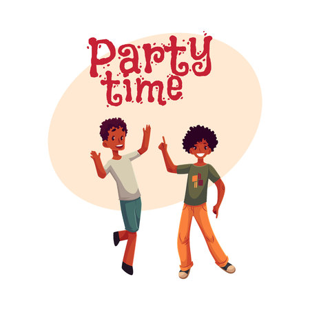 Black, African American boys, kids having fun, dancing at party, cartoon style invitation, banner, poster, greeting card design. Party invitation advertisement, boys dancing, jumping