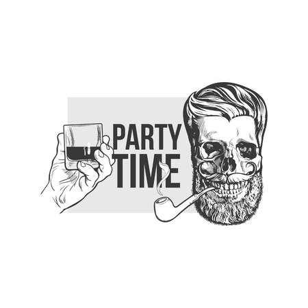 scotch whisky: Black, white party time poster, banner design with hand holding glass of whiskey and hipster style skull, sketch vector illustration. Hand drawn poster with hand holding alcohol shot and hipster skull