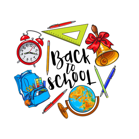 ball pens stationery: Round frame of school items, backpack, stationary with place for text, sketch vector illustration isolated on white background. Hand drawn school bag bell globe clock round frame with place for text Vectores
