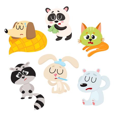 Sick, ill animals and pets - fever, headache, stomach ache, flu, running nose, cartoon vector illustration isolated on a white background. Sick baby animals - panda, dog, cat, rabbit, raccoon, bear