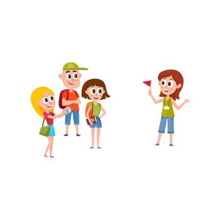 Reiseführer mit Gruppe Touristen, Karikaturvektorillustration lokalisiert auf weißem Hintergrund. Gruppe Touristen, die auf den jungen, hübschen Mädchenführer hören, der etwas interessant, Sightseeing sagt Standard-Bild - 77705839
