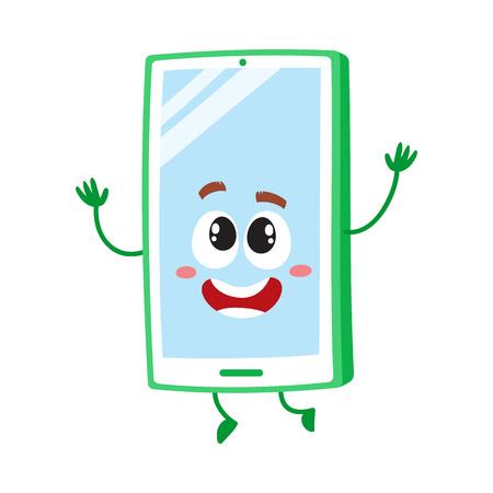 面白い漫画携帯電話、畏敬の念と喜び、ベクトル図で手を上げるスマート フォン文字は白い背景上に分離。興奮して漫画携帯電話、スマート フォン