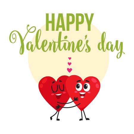 バレンタインの日のグリーティング カード、ポストカード、心文字、漫画のベクトル図を抱いて 2 バナー デザイン。バレンタインデー挨拶ハグ 2 心  イラスト・ベクター素材