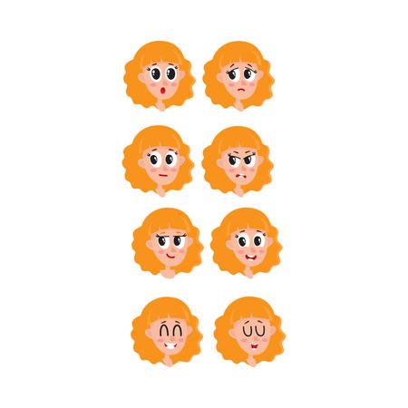 Instellen, verzameling van blonde haren vrouw, meisje gezicht expressies, hoofden, avatars, cartoon vectorillustratie op witte achtergrond. Grappige cartoon vrouwelijke hoofden en emoties, avatars