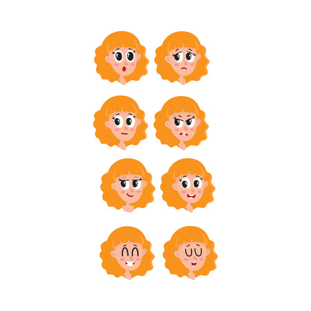 Set, collection of blonde hair woman, girl face expressions, heads, avatars, cartoon vector illustration on white background. Funny cartoon female heads and emotions, avatars