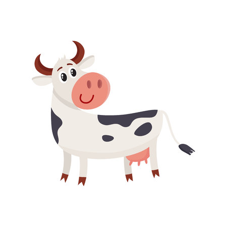 Funny black white spotted cow standing and looking back, cartoon vector illustration isolated on white background. Funny cow character with head turned back, dairy, farm concept Illustration