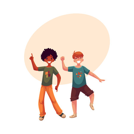 Black and Caucasian boys, kids, friends having fun, dancing at party, cartoon vector illustration with space for text. Happy boys dancing, jumping at a kids, birthday party, having fun