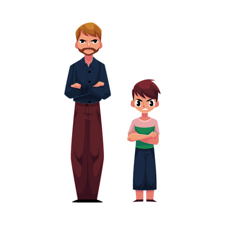 Man and boy, father and son standing with frowned, angry face expression after quarrel, cartoon vector illustration on white background. Frowning, irritated father and son standing with angry faces