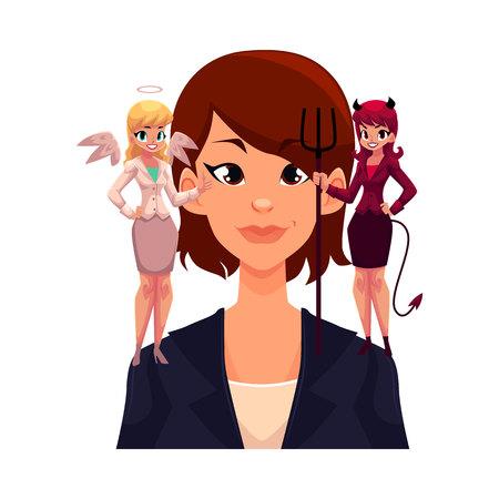 Femme d'affaires avec ange et diable sur les épaules, le concept de prise de décision, illustration de vecteur de dessin animé isolé sur fond blanc. Femme essayant de prendre une décision, choix écoutant ange et démon Banque d'images - 77705854