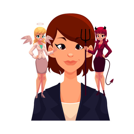 Business woman with angel and devil on shoulders, decision making concept, cartoon vector illustration isolated on white background. Woman trying to make decision, choice listening to angel and demon Illustration