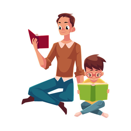 Young man and little boy reading books sitting legs crossed on the floor, cartoon vector illustration isolated on white background. Man and boy, father and son reading thick interesting books, sitting Stock Vector - 77705955