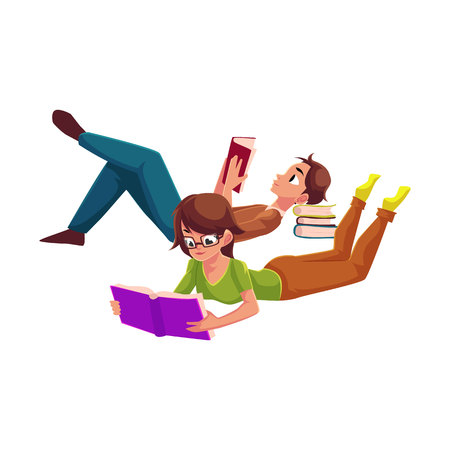 Boy, man reading book and woman in glasses reading book while lying on her stomach, cartoon vector illustration isolated on white background. Man and woman reading book
