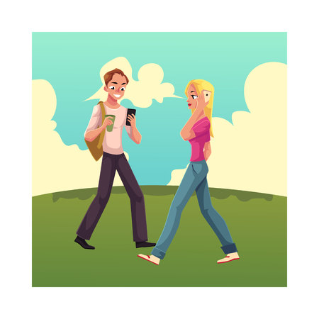 Young man and woman using smartphone on the grass, mobile phone on the go, cartoon vector illustration isolated on white background. Full length portrait of man and woman, boy and girl walking