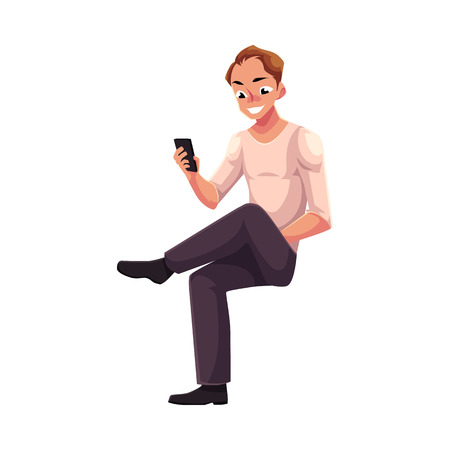 Man sitting, playing with smartphone, texting, messaging, using mobile phone, cartoon vector illustration isolated on white background. Full length portrait of young man sitting and using mobile phone Illustration