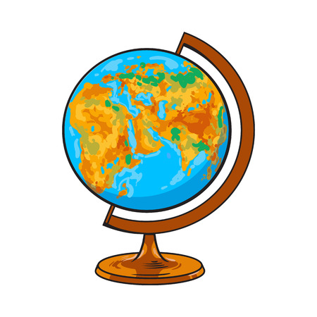 Hand drawn school classroom globe, geographical map, sketch style vector illustration isolated on white background. Realistic hand drawing of school geographical globe