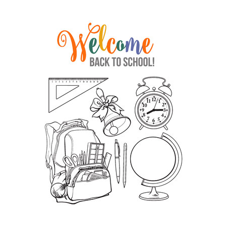 Backpack packed with school items, supplies, stationary, alarm clock, globe and bell, black and white sketch vector illustration isolated on white background. Set of school items