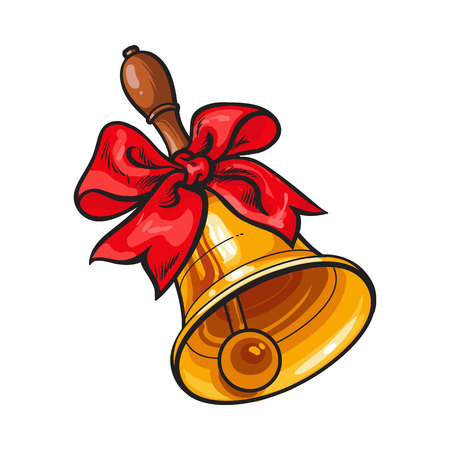 Traditional golden school bell with red ribbon, hand drawn sketch style vector illustration isolated on white background. Realistic hand drawing of golden bell with red ribbon, back to school symbol