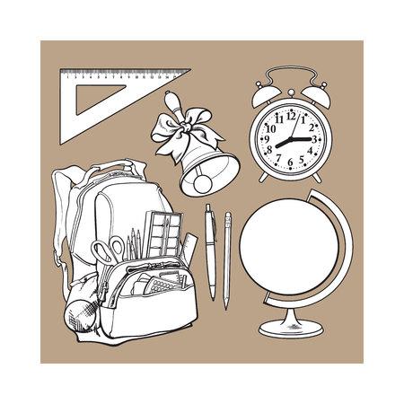 Rucksack verpackt mit Schuleinzelteilen, Versorgungen, stationärem, Wecker, Kugel und Glocke, Skizzenvektorillustration lokalisiert auf braunem Hintergrund. Set von Schulsachen - Schultasche, Globus, Uhr, Glocke Standard-Bild - 77706016