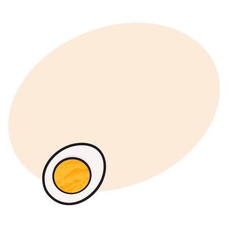鶏ゆで卵半分にカット、テキスト用のスペースとスタイル ベクトル図をスケッチします。手描き、スケッチ図では、ゆで鶏の卵の半分