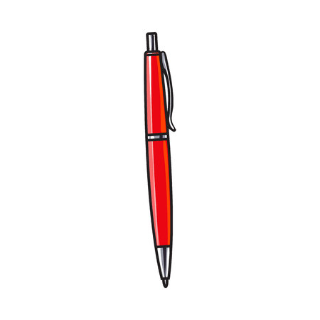 rollerball: Simple hand drawn red ball point pen, office supply, writing accessory, sketch style vector illustration isolated on white background. Realistic hand drawing of red school pen Illustration