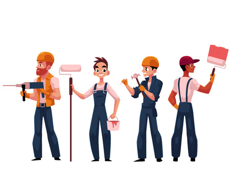 建設作業員、建設業者、画家のヘルメットとオーバー オールを身に着けている漫画、白い背景で隔離のベクトル図です。建築、絵画、穴あけ、釘を