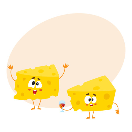 Two funny cheese chunk characters, one holding wine glass, another greeting, celebration concept, cartoon vector illustration with space for text. Two funny cheese piece characters, mascots Illustration
