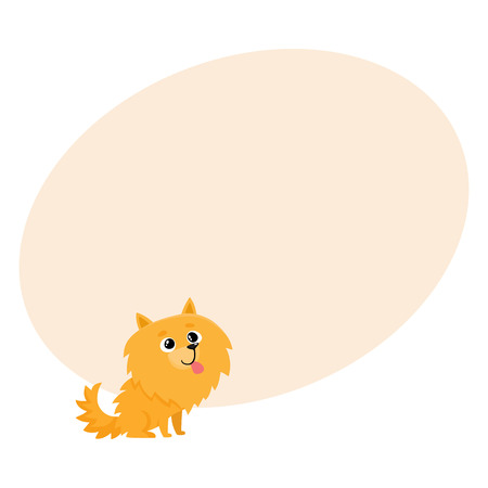 Cute little long haired Pomeranian, spitz dog character, cartoon vector illustration with space for text. Nice and friendly little spitz dog character, Pomeranian breed, cartoon illustration