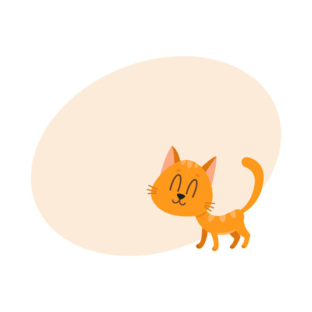 Cute and funny sweet red cat character, standing with eyes closed from pleasure, cartoon vector illustration with space for text. Cute and funny red cat character, nice and sweet