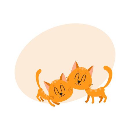 Due personaggi di gatto rosso dolce carino e divertente coccole a vicenda, fumetto illustrazione vettoriale con spazio per il testo. Coppia di simpatici e divertenti personaggi di gatti rossi che si accarezzano, belli e dolci