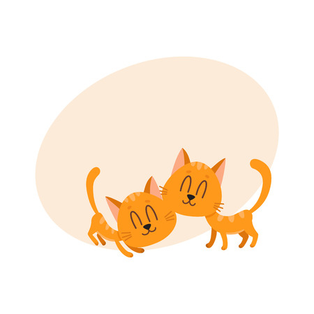 Two cute and funny sweet red cat characters cuddling each other, cartoon vector illustration with space for text. Couple of cute and funny cuddling red cat characters, nice and sweet