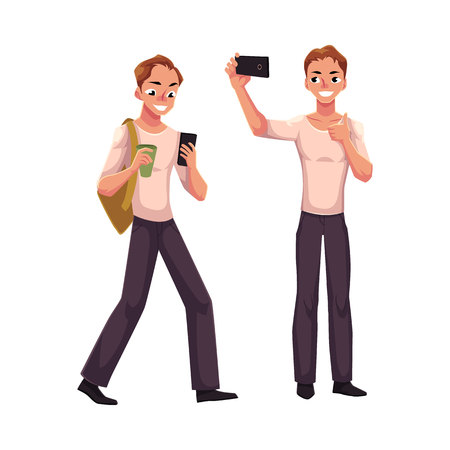 Young man using smartphone on the go, making selfie with mobile phone, cartoon vector illustration isolated on white background. Young man using mobile phone while walking, making phone of himself Illustration
