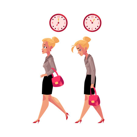 hurrying: Young blond businesswoman hurrying to work and going back home tired, exhausted, cartoon vector illustration isolated on white background. Businesswoman, business woman in the morning and evening Illustration
