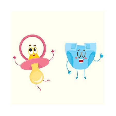 Lustige Babyattrappe, Friedensstifter und Windel, Windelcharaktere, Kinderbetreuungskonzept, Karikaturvektorillustration lokalisiert auf weißem Hintergrund. Baby Schnuller, Dummy und Windel, Windel Charakter, Maskottchen Standard-Bild - 77706209