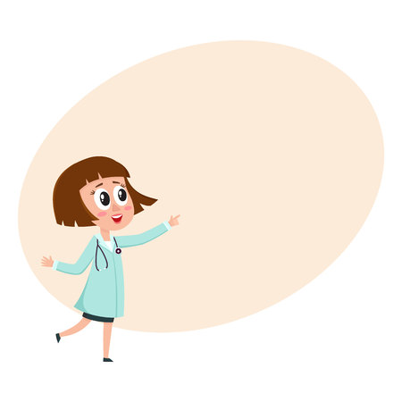 Comic woman doctor character with bob haircut wearing medical coat, pointing to something, cartoon vector illustration with space for text. Full length portrait of funny woman doctor pointing