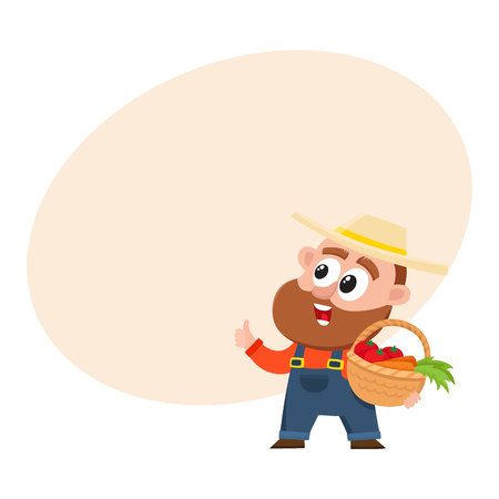 Funny farmer, gardener character in straw hat and overalls holding basket with vegetables, thumb up, cartoon vector illustration with space for text. Comic farmer character, design elements