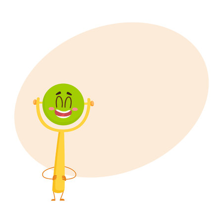 Cute and funny baby rattle toy character, green ball on yellow handle, standing arms akimbo, cartoon vector illustration with space for text. Baby rattle toy character, infant, kid item