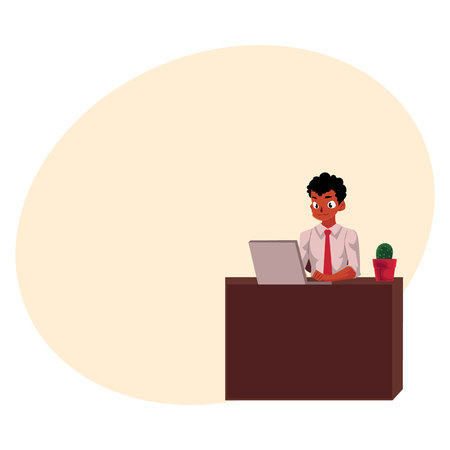 Black, African American businessman working on computer, sitting at office desk, cartoon vector illustration with space for text. Black businessman, worker, employee working in office