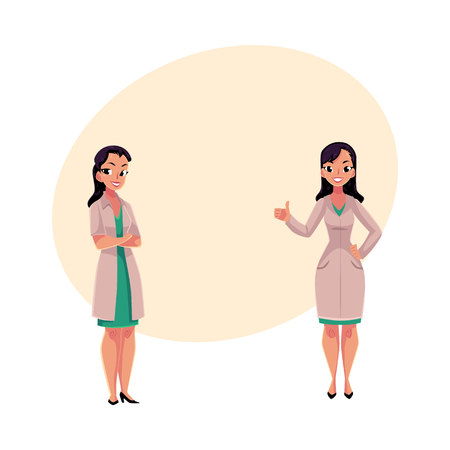 Two female, woman doctors in white medical coats, one with arms folded, another showing thumb up, cartoon vector illustration with space for text. Full length portrait of two female doctors Ilustração