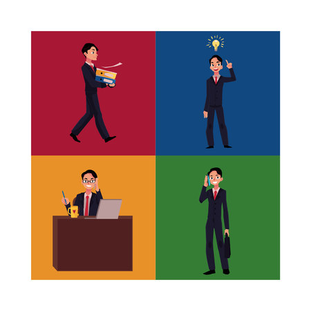Businessman, manager working at workplace, having idea, bringing documents, talking by phone, cartoon vector illustration four situations. Businessman, employee in business situations Illustration