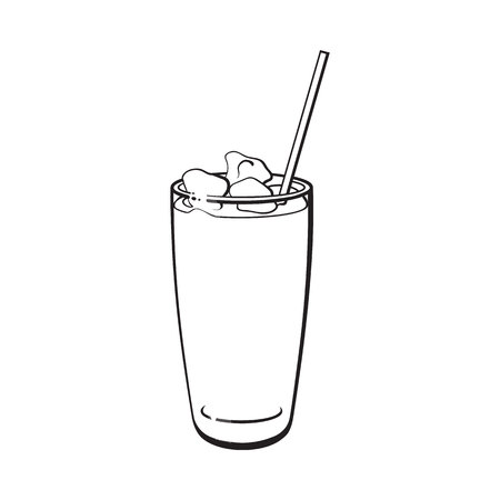 Tall glass full of freshly squeezed cold juice with ice and straw, black and white sketch style vector illustration on white background. Hand drawn glass of grapefruit juice with ice