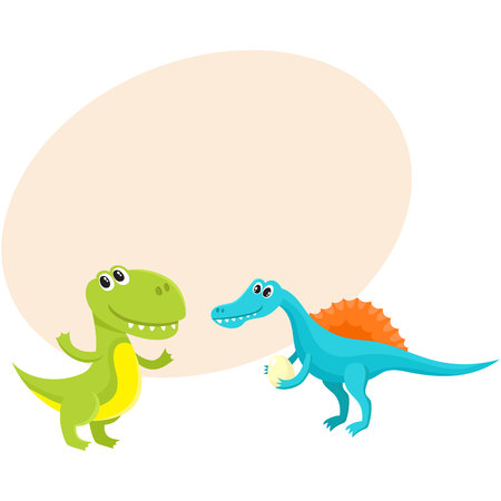Two cute and funny baby dinosaur characters - spinosaurus and tyrannosaurus, cartoon vector illustration with space for text. Happy smiling spinosaurus and T-rex dinosaur characters