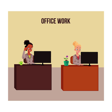 Office life poster, banner with two white and black businesswomen working on computer, answering phone, cartoon vector illustration. Two business women, secretaries, girls working at office desks