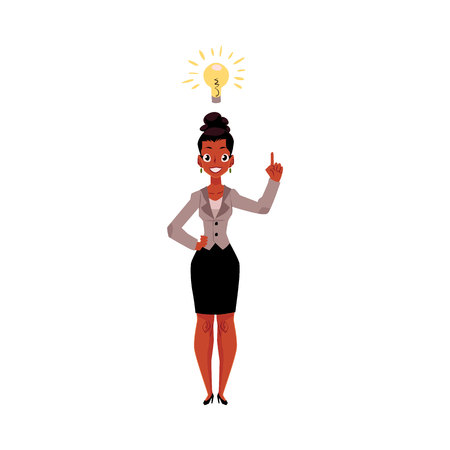 Black, African American businesswoman having idea, light bulb as symbol of business insight, cartoon vector illustration isolated on white background. Black businesswoman has just got idea, insight Stock Photo