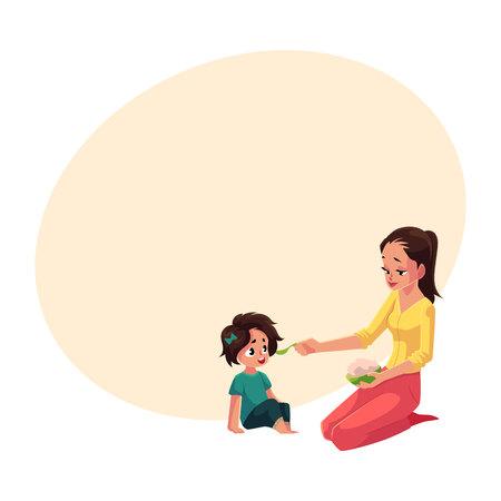 Moederlepel die haar kleine dochterzitting op de vloer, beeldverhaal vectorillustratie met ruimte voor tekst voeden. Moeder, moeder die kom pap vasthoudt, voedt haar dochter zittend op de vloer