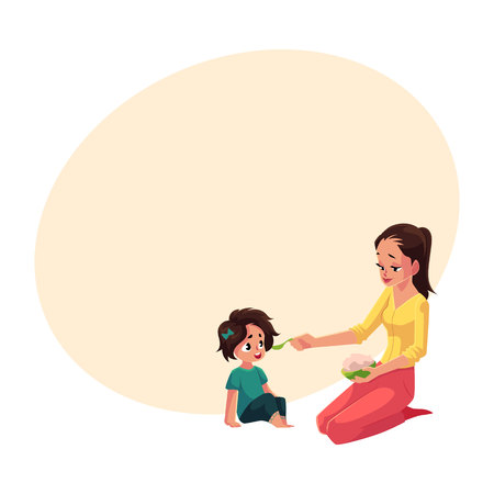 Mother spoon feeding her little daughter sitting on the floor, cartoon vector illustration with space for text. Mother, mom holding bowl of porridge, feeding her daughter sitting on the floor