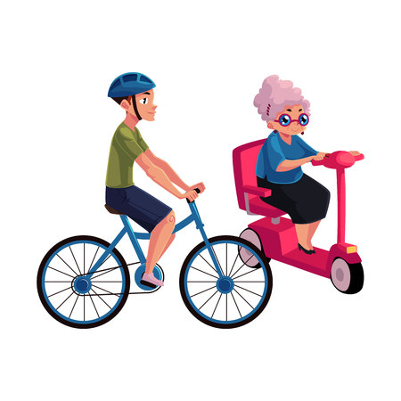 Young man riding bicycle and old woman driving modern scooter, personal urban transport concept, cartoon vector illustration isolated on white background. Bicycle, cycle and scooter riders, drivers Stock Photo