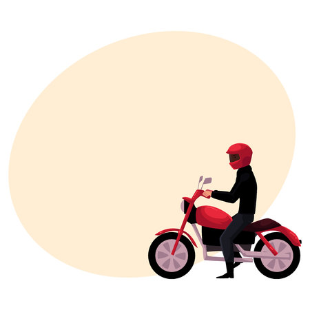 Motorcycle, motorbike rider wearing helmet, side vew, urban motor transport concept, cartoon vector illustration with space for text. Man riding motorcycle, biker, motorcyclist wearing helmet Stock Photo