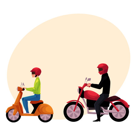 Motorcycle, motorbike and scooter drivers, riders wearing helmet, side vew, cartoon vector illustration with space for text. Motorcycle and scooter, two types of typical urban transport