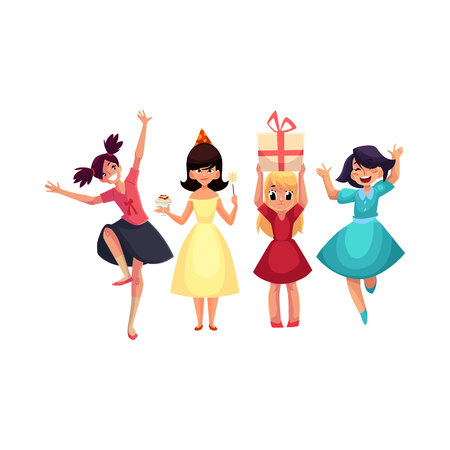 Four various girls in colorful dresses having fun at birthday party, cartoon vector illustration isolated on white background. Set of girls, kids, children celebrating birthday, having fun, dancing Ilustração