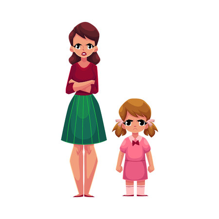 Young woman and little girl, mother and daughter standing with frowned, angry faces, cartoon vector illustration on white background. Frowning mother and daughter, elder and younger sisters standing Иллюстрация